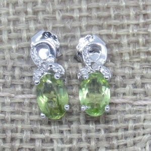 Platinum Plated 925 Peridot Diamond Accent Earring